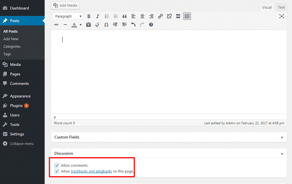 process to stop comments on each post individually